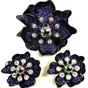 Joan Rivers Purple Flower Brooch and Earrings
